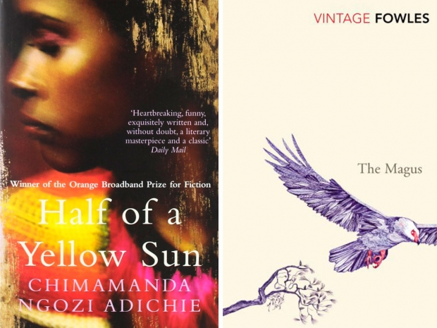 Half Of A Yellow Sun by Chimamanda Ngozi Adichie and The Magus by John Fowles