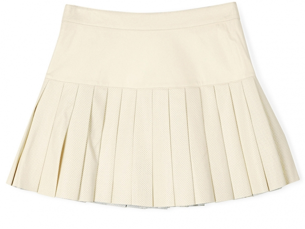 Pam & Gela Pleated Short Leather Skirt