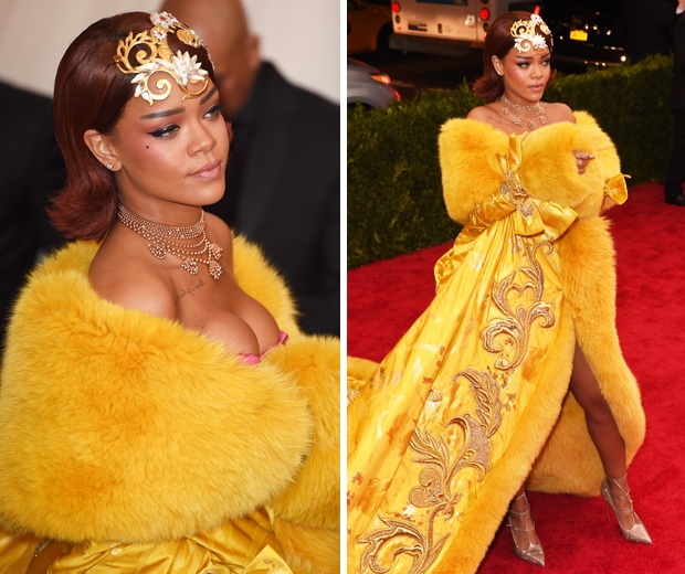 rihanna in yellow Guo Pei dress at met gala 2015