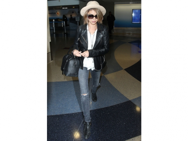 Sarah Hyland photographed walking through LA's LAX airport