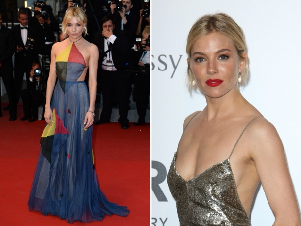 (L) Sienna Miller in a Valentino couture dress and (R) in a Ralph Lauren dress