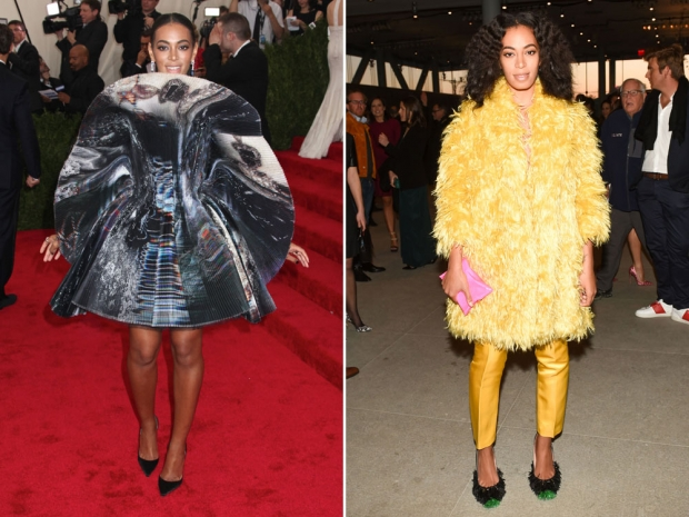 Solange Knowles Met Gala and Solange Knowles yellow fluffy dress