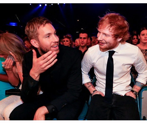 Calvin Harris and Taylor's BFF Ed Eheeran sitting side by side at the Billboard