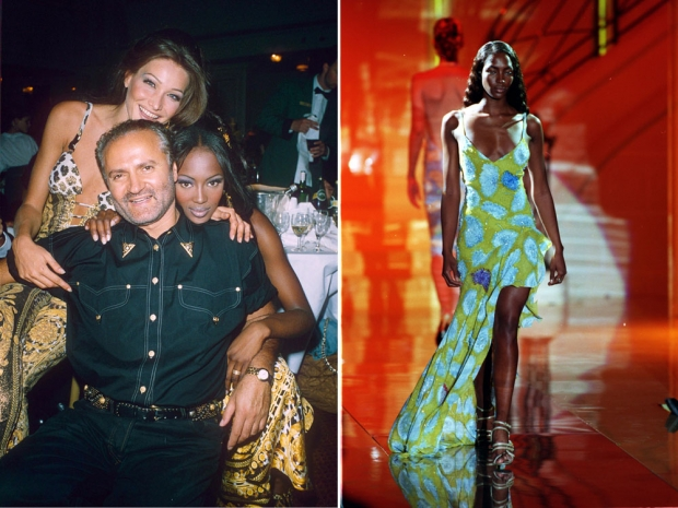 Naomi Campbell with Gianni Versace and Carla Bruni