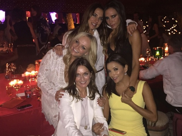 Victoria Beckham poses with Emma Bunton, Mel C, Geri Halliwell and Eva Longoria