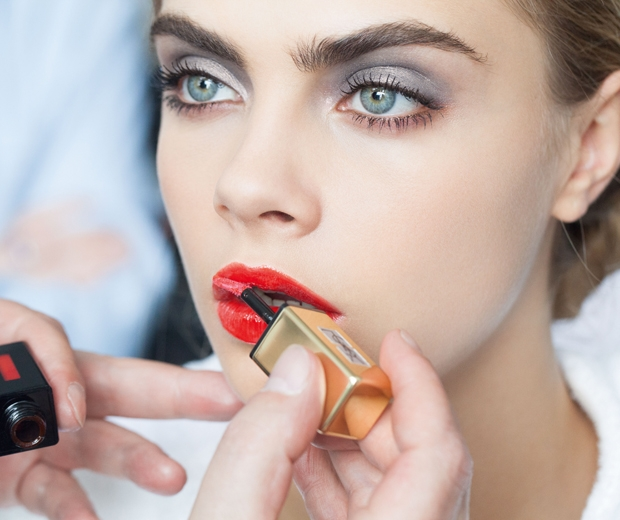 A behind the scenes snap of Cara on the YSL shoot