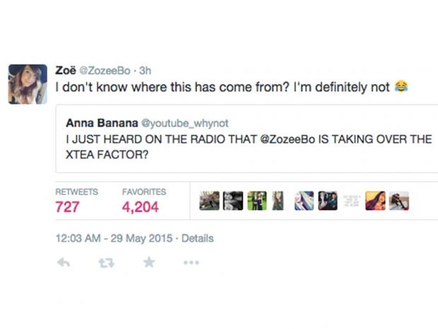 Zoella twitter xtra factor rumours