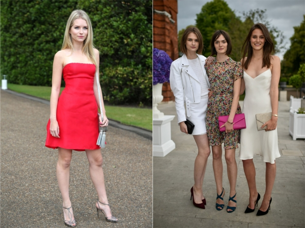 Lottie Moss (L) and Laura Mullen with Sam Rollinson and Charlotte Wiggins (R)