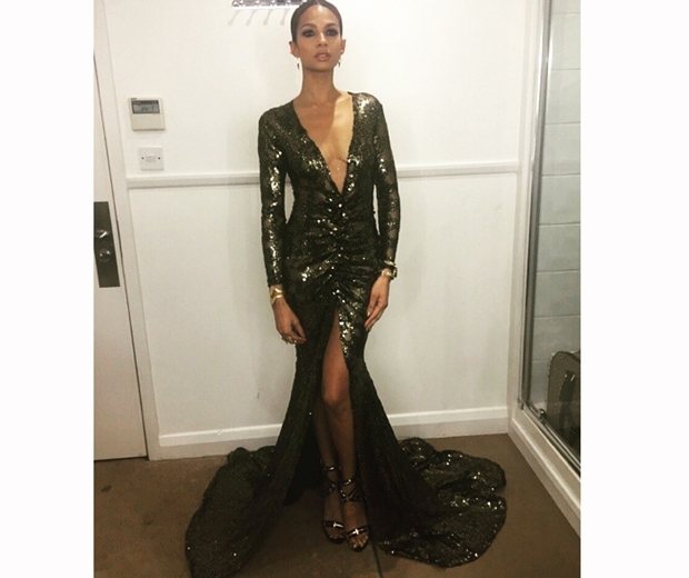 alesha dixon in black Michael Costello britain's got talent finale dress