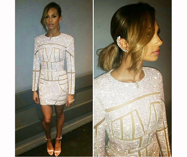 alesha dixon in embellished mini dress with hair in ponytail
