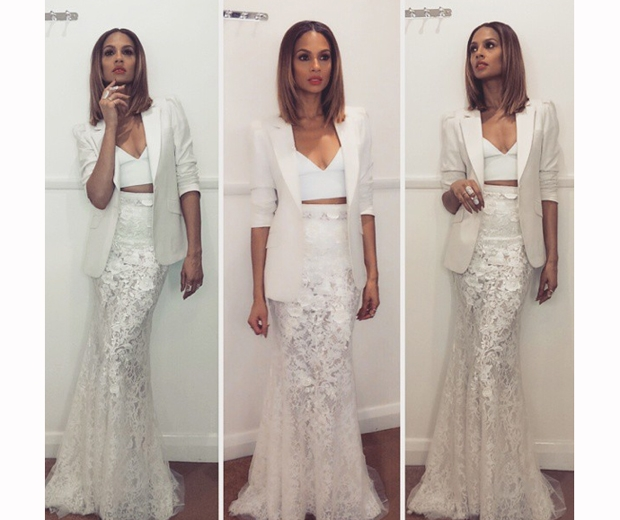 alesha dixon with bob in a Michael Cinco jacket and white lace fishtail skirt