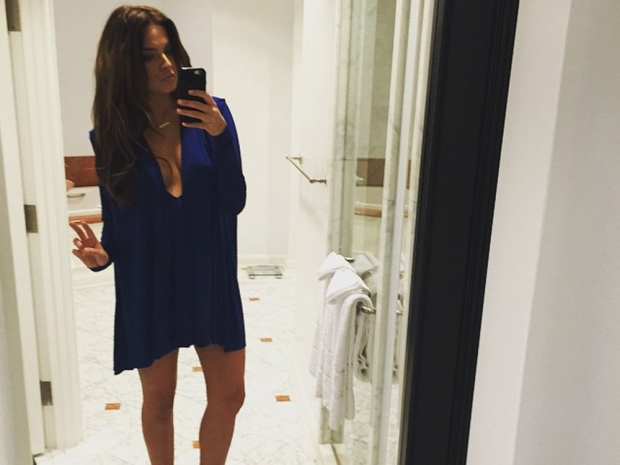 Binky Felstead in a plunging Aqua dress in Instagram photo
