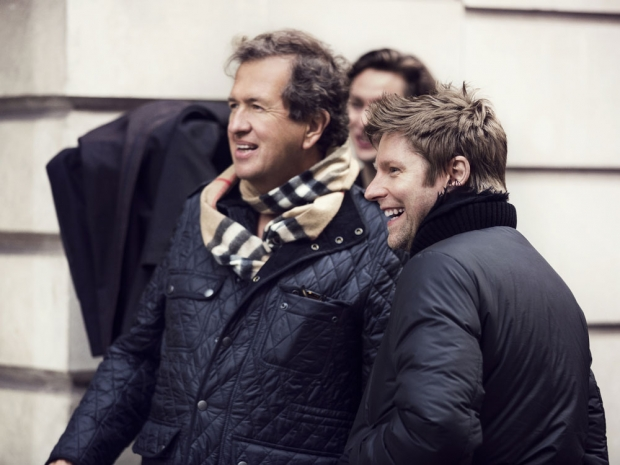 Mario Testino and Christopher Bailey on set of the campaign.