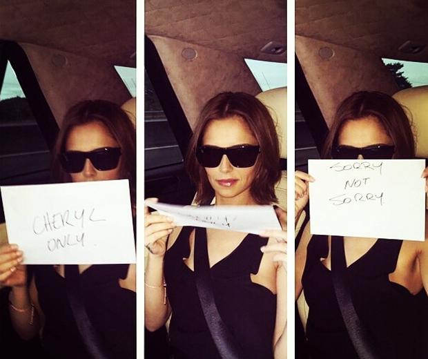 Cheryl Fernandez-Versini in a car reading birthday clues