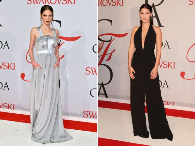 Coco Rocha and Bella Hadid on the CFDA red carpet.