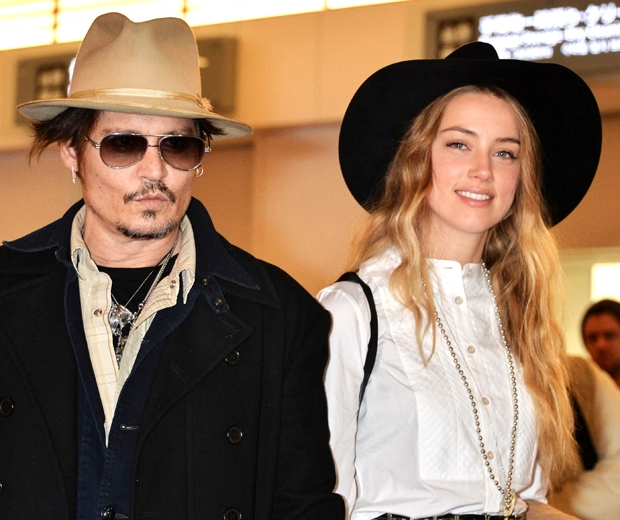 Johnny Depp and Amber Heard at Haneda airport in Japan