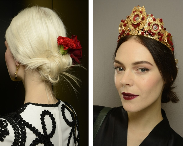 Dolce & Gabbana hair accessories with their hair up