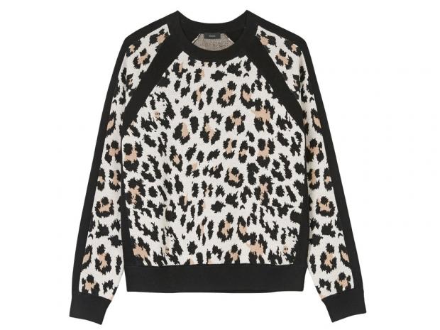 Joseph Leopard Jacquard Raglan Sleeve Knit