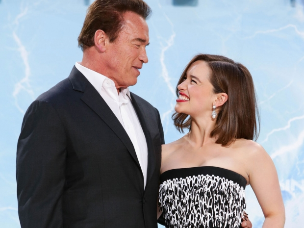 Emilia Clarke and Arnold at the Terminator premiere