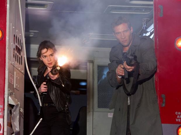 Emilia Clarke and Jai Courtney in Terminator Genisys