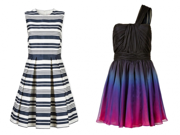 Red Valentino's striped dress and Halston Heritage's asymmetric frock
