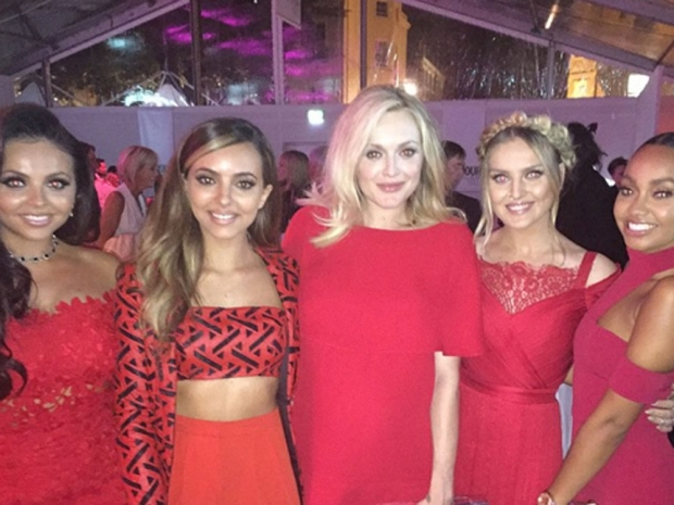 Fearne Cotton and Little Mix in their red outfits