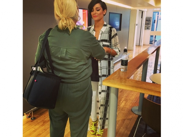 Frankie Bridge shows off her yellow shoes behind the scenes of Lorraine