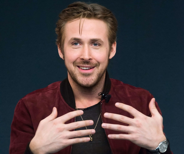 ryan gosling in red suede bomber jacket