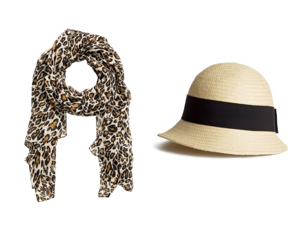 H&M Patterned Scarf, £4.99 & H&M Straw Hat, £7.99