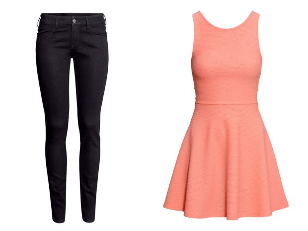 H&M Skinny Low Jeans, £7.99 & H&M Dress With a Circular Skirt, £7.99