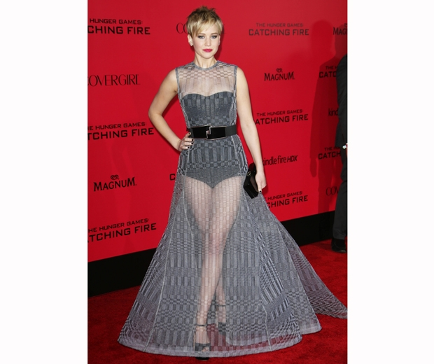 jennifer lawrence in high waisted knickers and sheer dior skirt