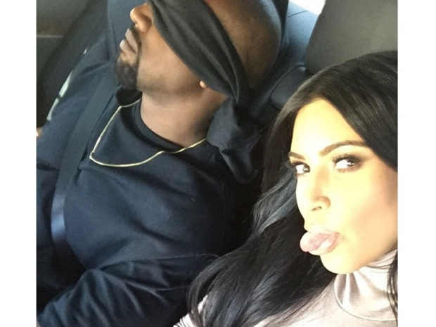Kanye West blindfolded with Kim Kardashian on Instagram