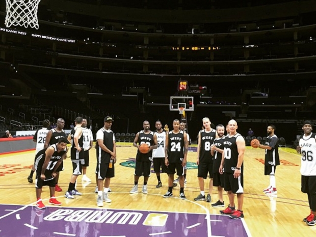 Kanye West and his friends playing basketball in Instagram photo