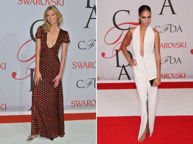 Karlie Kloss and Joan Smalls on the CFDA red carpet.