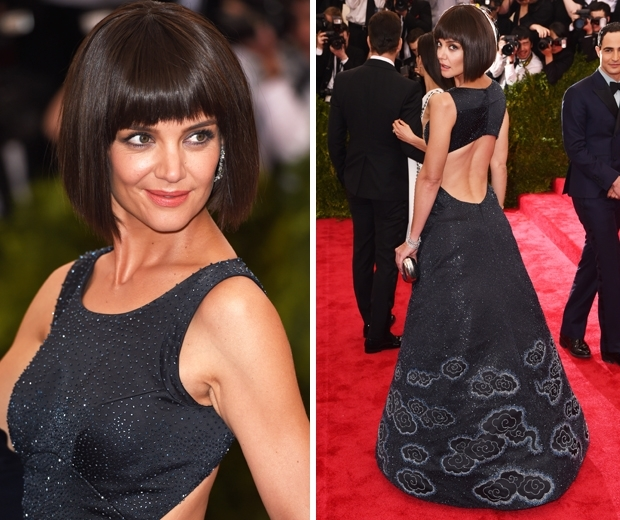 katie holmes in fringed bob wig at the met gala 2015