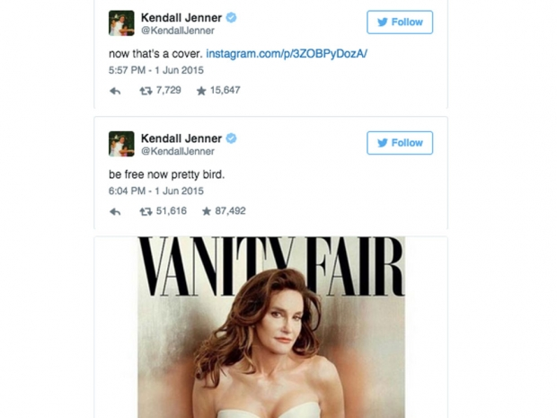 Kendall Jenner reaction to Caitlyn Jenner