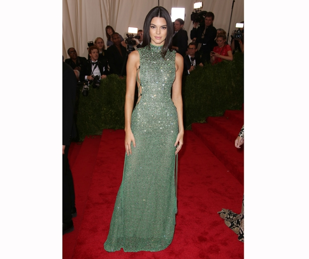 Kendall Jenner in sparkly green Calvin Klein dress at the Met Gala