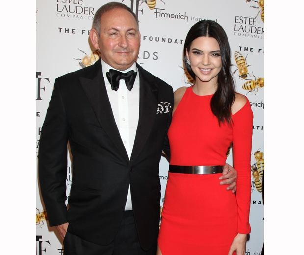 Kendall Jenner and Estee Lauder president John Demsey on the red carpet