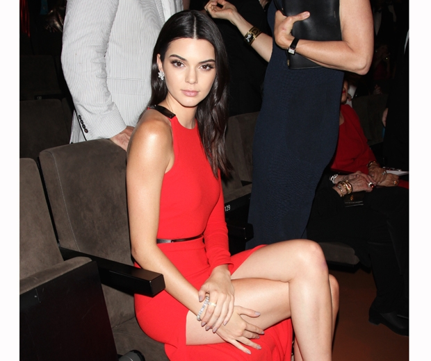 kendall jenner at the fragrance awards in a red dress