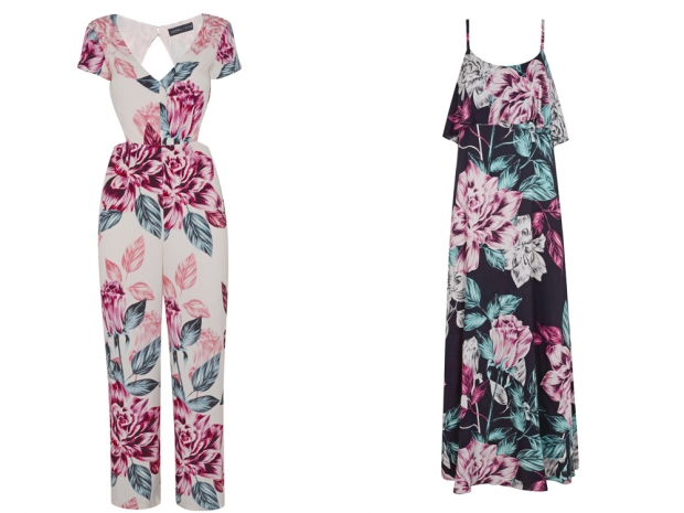 Floral jumpsuits and maxi dresses both feature in Kendall and Kylie's collection