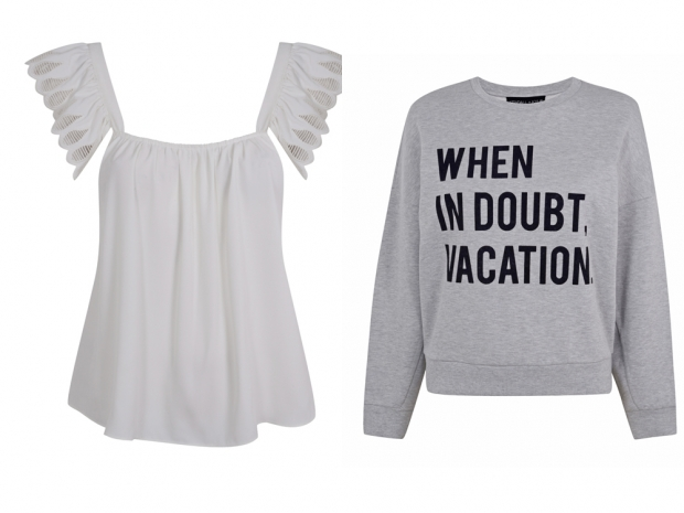 Peasant tops and slogan sweaters are designed by Kendall and Kylie Jenner