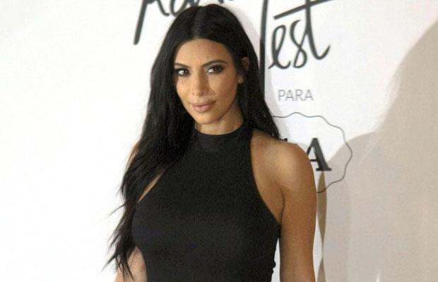 Kim Kardashian with long brunette hair