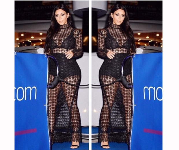 kim kardashian black mesh dress in cannes