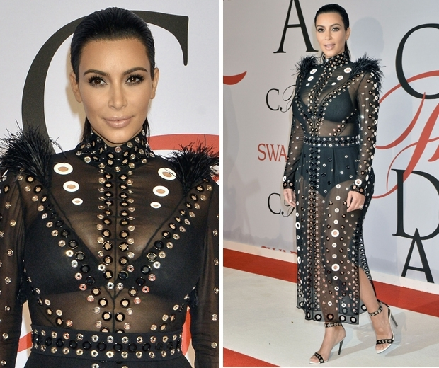 Kim Kardashian's first maternity look of 2015 was at the CFDAs