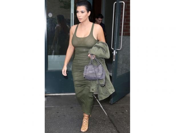 kim kardashian in khaki ribbed dress