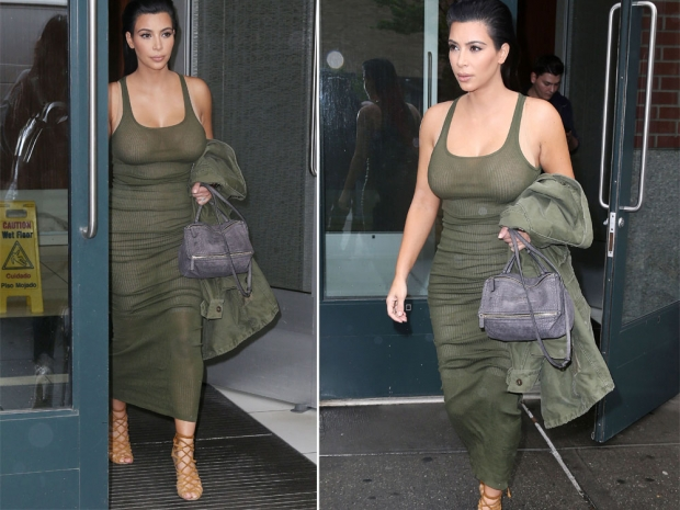 Kim Kardashian khaki dress