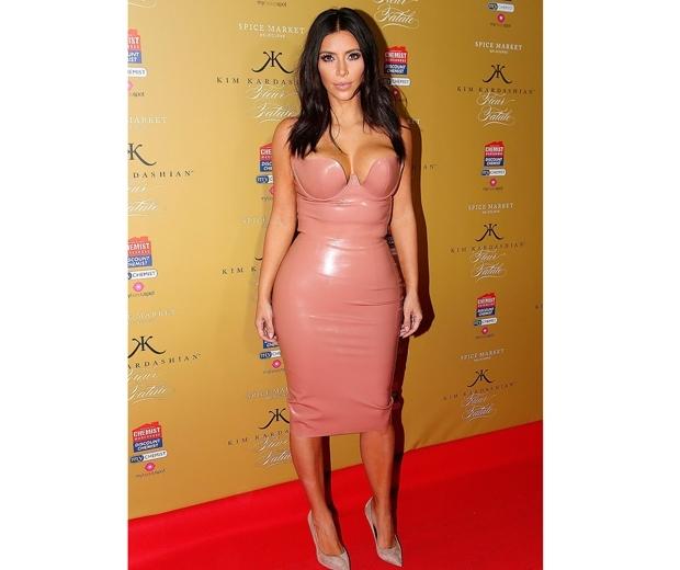 kim kardashian in pink pvc dress
