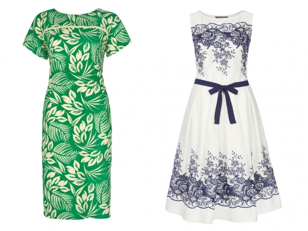 Laura Ashley Palm Print Dress, £85 & Laura Ashley Embroidered Dress, £100