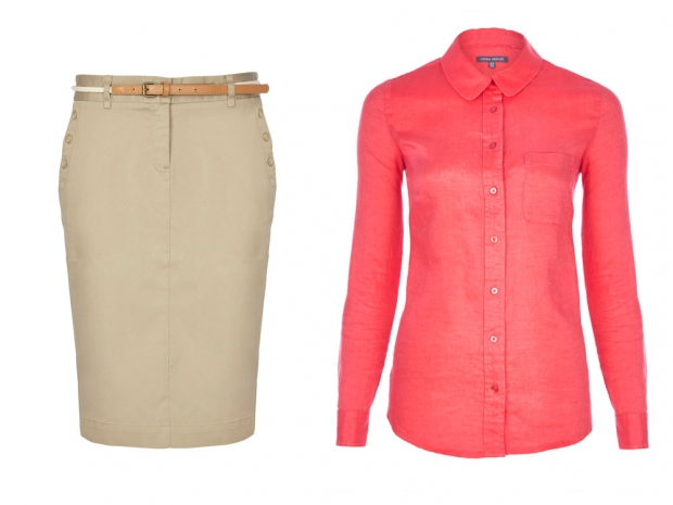 Laura Ashley Linen Shirt, £50 & Laura Ashley Chino Skirt, £50