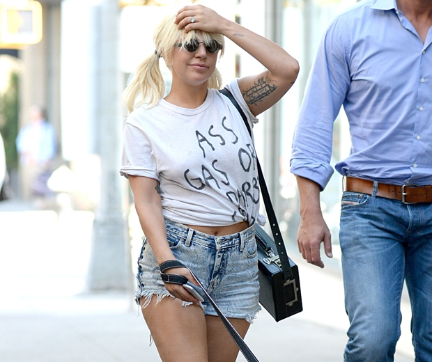 lady gaga in denim shorts and a white t-shirt